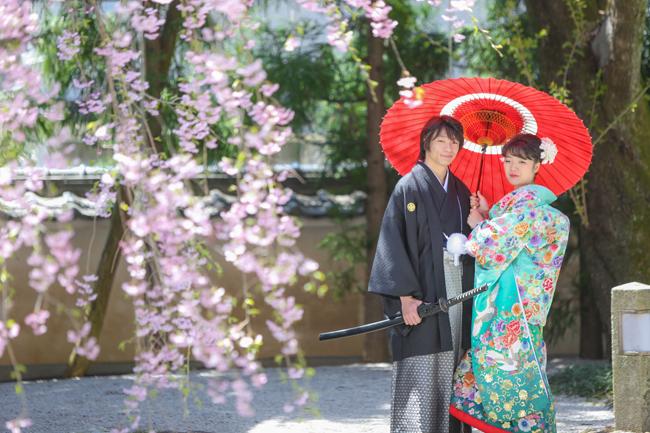 結婚写真 桜ロケ 塩尻市