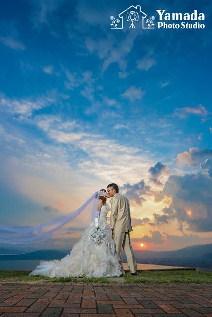 諏訪市立石公園前撮り結婚写真