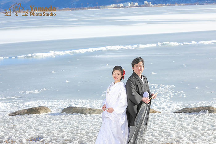 諏訪湖御神渡り結婚写真