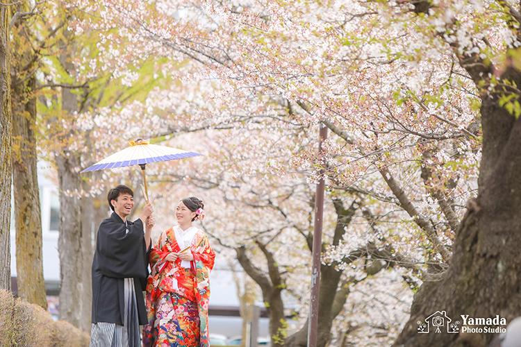 松本城桜和装フォトウェディング