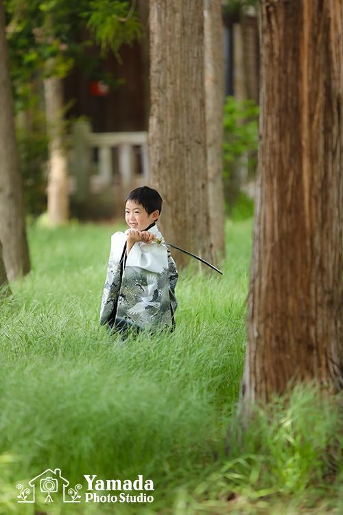 七五三ロケーション撮影袴刀