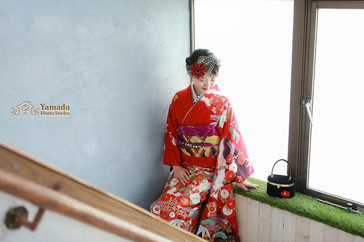 成人前撮り岡谷市写真館赤いお振袖