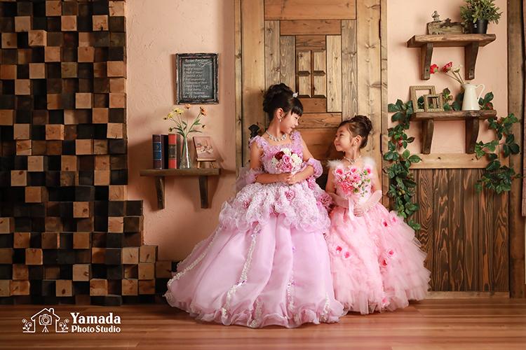 お色直しドレスピンクと紫姉妹で753part2
