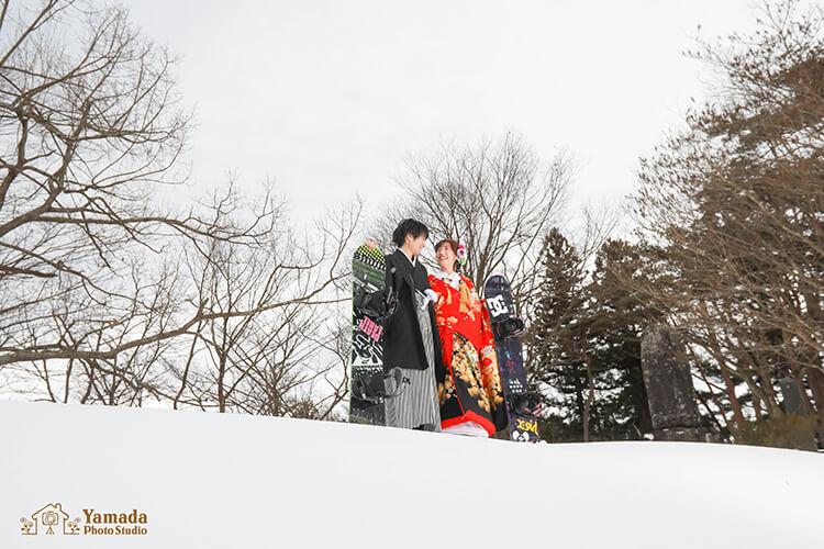 高ボッチスノボと共に雪景色
