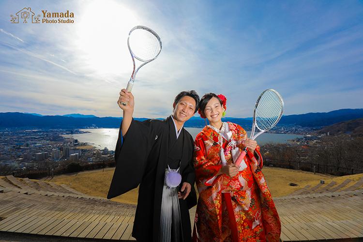 テニスラケット諏訪湖立石公園和装ロケ