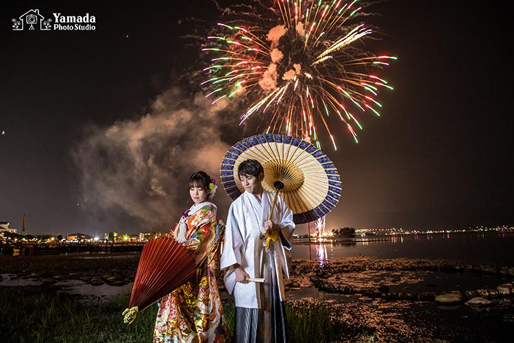 諏訪湖花火結婚写真