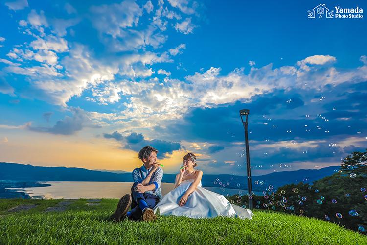 シャボン玉立石公園結婚式前撮り