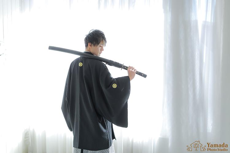 成人式袴刀撮影