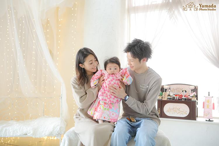 桃の節句家族写真