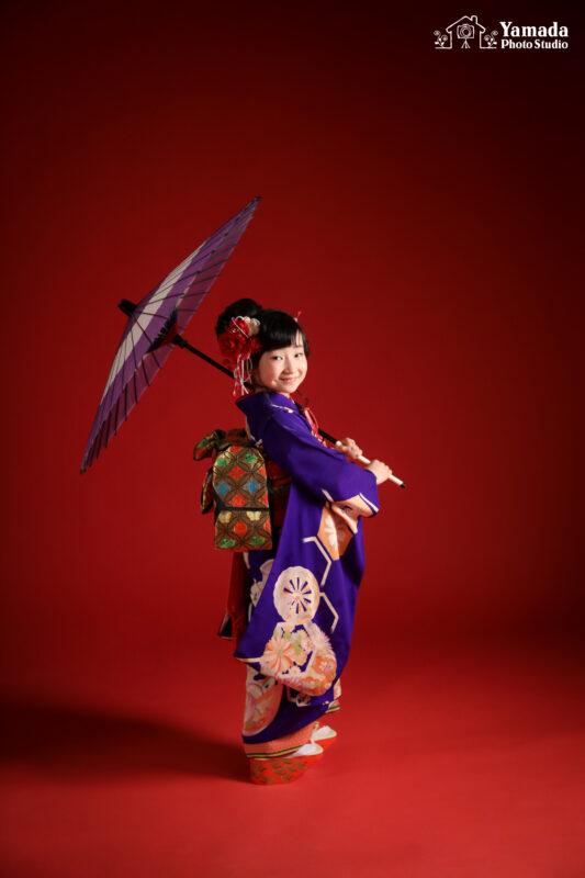 7歳753モデル紫着物