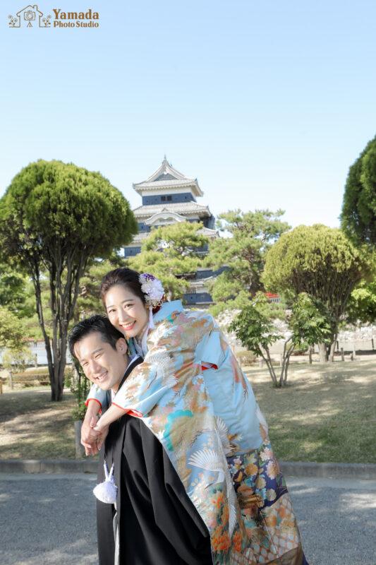 松本城和装ウエディング