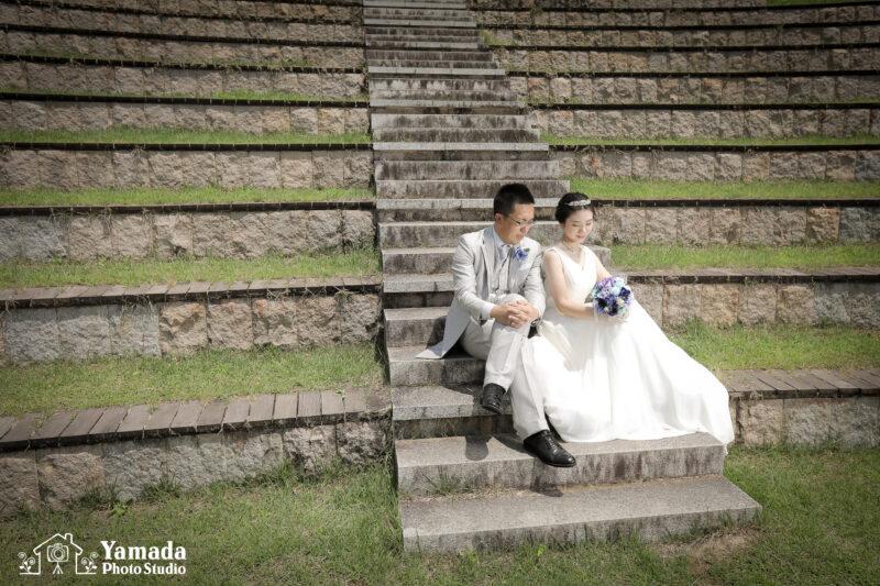 諏訪市立石公園階段ドレス・タキシード